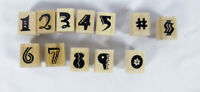 Lot of 12 Number Design Rubber Stamp Wooden Mounted