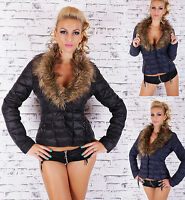 Sexy Women's Quilted Winter Jacket with Faux Fur uk. Size 8,10,12,14