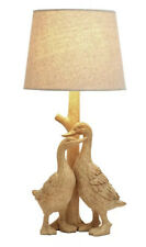 Duck Table Lamp Feature Light Birds Natural Wood Effect Home Decor Bedside NEW