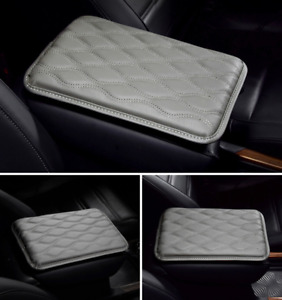 Car Dust-proof PU Leather Gray Armrest Pad Cover Auto Center Console Mat Cushion
