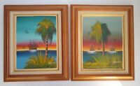 Framed Original Canvas Paintings Marine Theme, Palm Trees -16x19 Signed Set of 2