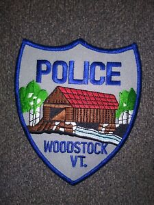 Beautiful Woodstock, Vermont Police Patch, see the Covered Bridge