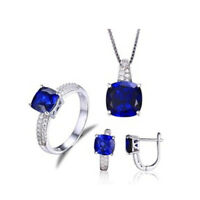Women 925 Silver filled Sapphire Jewelry Set Wedding Party Necklace Earring Ring