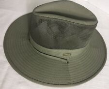 Stetson Cool Max Mens Mesh Side Covered Hat Olive Large With Strap New