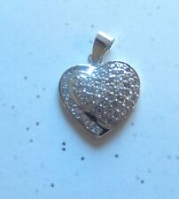 Sterling Silver Pendant -925 -heart shaped- sparkly clear crystals