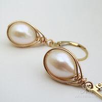 ✨● ÉLÉGANCE & NONCHALANCE  ● Zucht Perlen Tropfen Ohrringe weiß ygf 14k Gold 585