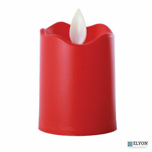LED Flameless Short Pillar Flicker Candles, 12 Pack, Red