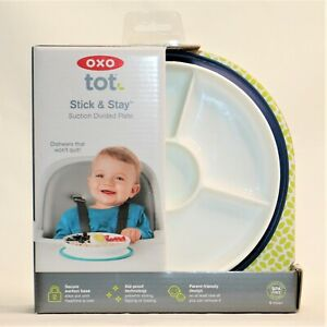 OXO Tot Stick & Stay Suction Divided Plate Navy White 6+ Months