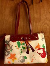 Dooney & Bourke  Small East West Splash Paint Handbag Funky Boho Young