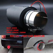 63mm Inlet Red LED Light Car Muffler Matte Carbon Fiber Exhaust Tip Outlet 89mm
