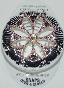 BATH & BODY WORKS Iridescent Rose Gold Jeweled Flower Scentportables Vent Clip
