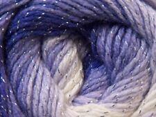 100 gr Magic Glitz 22061 Purple White Silver Metallic Self-Striping DK Yarn Ice