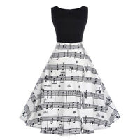 Women Vintage Retro Rockabilly Cocktail Party Musical Notes Swing Dance Dress