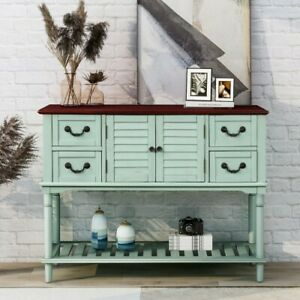 Modern Console Table Antique Blue 1pc Multi-Functional Storage Drawers Furniture