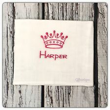 PERSONALISED Baby Muslin Burp Cloth Crown Disney ANY NAME Colour Boy Girls Gift