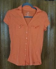 NY&C New York & Company Orange Cotton Short Sleeve Button Up Shirt Women's M
