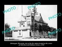 OLD LARGE HISTORIC PHOTO OF SHEBOYGAN WISCONSIN VIEW OF THE FIRE STATION c1920
