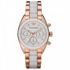 Emporio Armani AR5942 White Rose Gold Stainless Steel Chrono 38mm Women's Watch