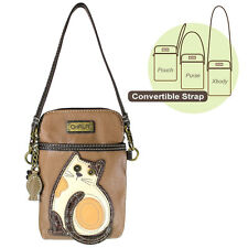 New Chala Cell Phone Purse Crossbody Vegan Leather Convertible LAZZY CAT Brown