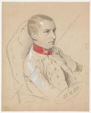 "Franz Pitner ""Portrait of Austrian lieutenant"", watercolored drawing, 1850"