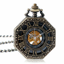 Vintage OCTAGON Roman Numerals Hand WINDING Mechanical Pocket Watch Chain Gift Bronze