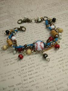 "Multicolored Beaded Baseball Charm Adjustable Multi-Strand Bracelet, 6"" to 7.75"""