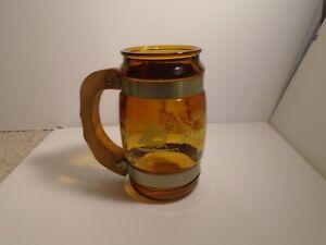 FLORIDA Vintage 60's Siesta Ware Amber Barrel Glass Beer Mug Wood Handle NICE!!