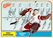 Custom made Topps  1968-69 Detroit Red Wings  Terry Sawchuk  hockey card white