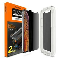[2-PK] iPhone X XS XS Max XR Spigen®[Glass EZ Fit] Privacy 9H Screen Protector