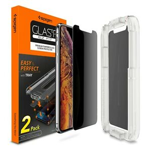 2 Pack iPhone X XS XS Max XR Spigen Glass EZ Fit Privacy 9H Screen Protector