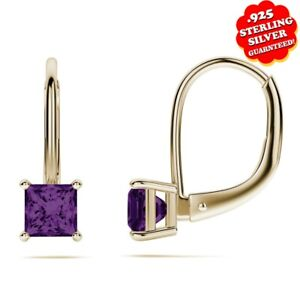 3 Ct Princess Amethyst 14K Yellow Gold Over Silver Lever Back Stud Earrings