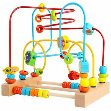 Wooden Marine Animals Beads Maze Roller Coaster Educational Circle Toddlers Toy