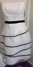 Ladies Dress Collection White Black Highlights Strapless Multi Layers Lined VGC+
