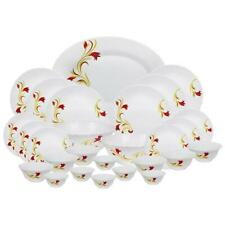 Larah Red Lily Opalware Dinner Set 27-Pieces By Borosil White