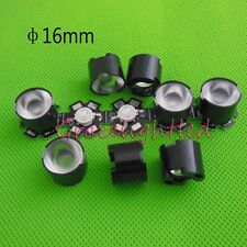 10pcs 1W 3W High Power LED lens 16mm 90degree with black holder For IR CCTV DIY