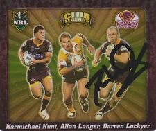Signed Darren Lockyer Brisbane Broncos Autograph on 2004 NRL Tazo