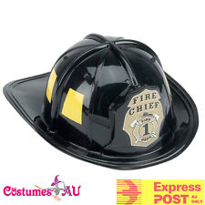 Mens Fireman Helmet Firefighter Firehouse Costume Black Party Adults Cap Hat