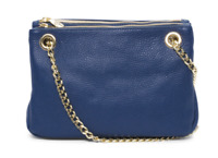 VALENTINA Made In Italy Blue Pebble Leather Three Entry Crossbody MSRP $199.99