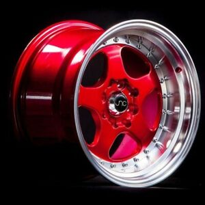 SET OF 4 JNC WHEELS JNC010 17x8 5x114.3 +30 CANDY RED MACHINE LIP