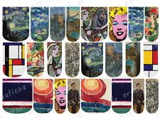 24 WATER SLIDE NAIL ART DECALS * MUSEUM OF MODERN ART  * FULL NAIL COVERS