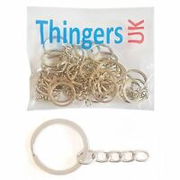 Flat Key Ring with chain - Silver Colour - Choose pack size