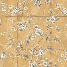 Wallpaper Gray Black Taupe Cream Floral Vine on Faux Gold Leaf Squares