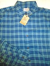 Faherty 100% Cotton Flannel Ventura Blue Sport Shirt NWT XXL $128