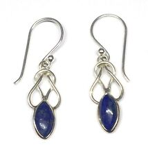 Handmade in 925 Sterling Silver, Real Lapis Lazuli Celtic Drop Earrings With Bag