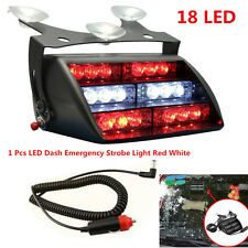 18LED Emergency Warning Car Truck Dash Windshield Flash Strobe Light White & Red
