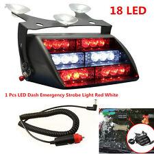 18LED Emergency Warning Car Truck Dash Windshield Flash Strobe Light White & Red
