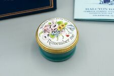 Halcyon Days Enamel Trinket Box Floral, Flowers, When this you see Remember me