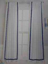 "2 Circo White & Blue Border Window Panels 84"" W x 63"" L (1 pair) NIP"