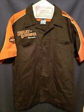 Harley Davidson ButtonUp Shirt Short Sleeve Black Orange Embroidered Mens Large