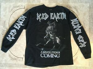 """Iced Earth """"A Revolution's Coming"""" Black Long Sleeve T-Shirt Size L Heavy Metal"""